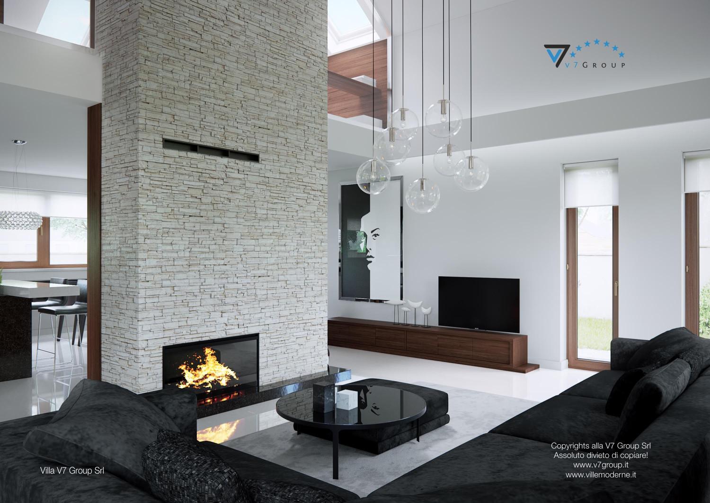 Immagine Villa V13 ENERGO - il divano nero e il camino grande
