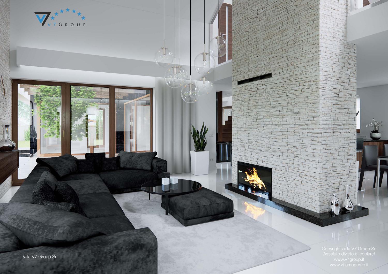 Immagine Villa V13 ENERGO - il camino al centro e il divano