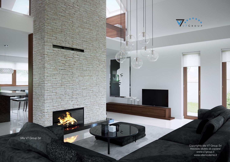 Immagine Villa V13 - il divano nero, la tv e il divano nero