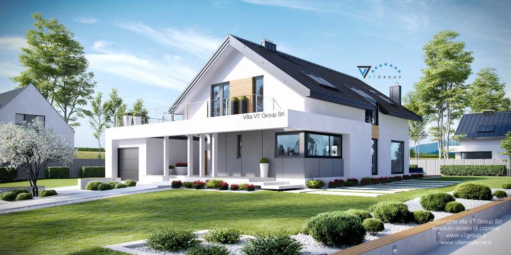 Immagine Villa V1 (progetto originale) - vista frontale Villa V2 - link