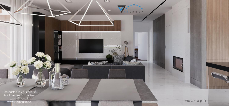 Immagine Villa V26 - versione 3 - interno 4 - soggiorno, sala da pranzo e corridoio