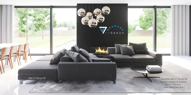 Immagine Villa V30 (progetto originale) - interno 4 - soggiorno e terrazzo esterno