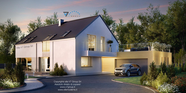 Immagine Villa V35 (progetto originale) - vista frontale garage doppio grande