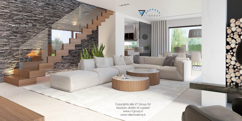 Immagine Villa V37 (progetto originale) - il soggiorno e le scale in legno nobile