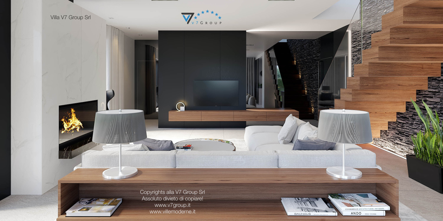 Immagine Villa V37 (progetto originale) - interno 6 - soggiorno e corridoio