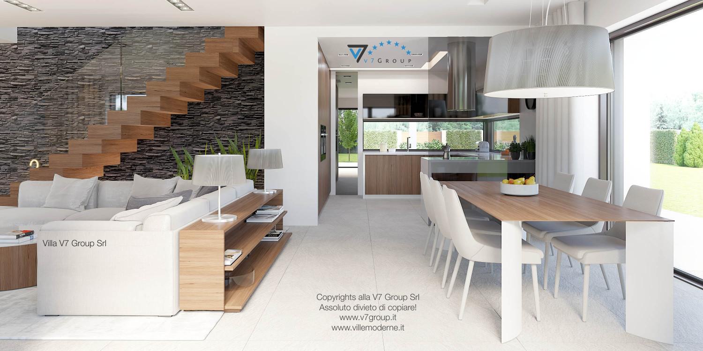 Immagine Villa V37 (progetto originale) - il tavolo in legno e le sedie bianche