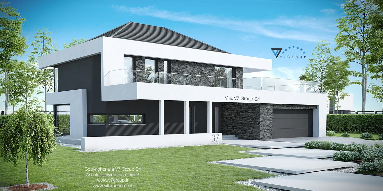 Immagine Villa V37 (progetto originale) - vista frontale laterale grande