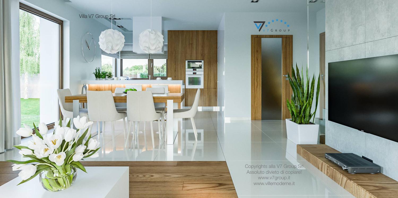 Immagine Villa V3 (progetto originale) - interno 8 - sala da pranzo e corridoio