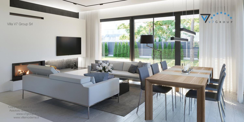 Immagine Villa V45 (progetto originale) - il tavolo in legno, le sedie e il divano