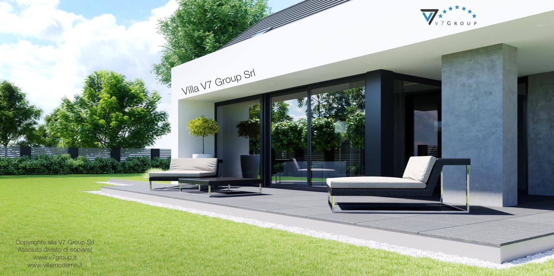 Immagine Villa V51 (progetto originale) - vista terrazzo esterno e giardino grande