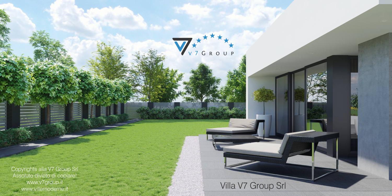 Immagine Villa V56 (progetto originale) - vista terrazzo esterno e giardino grande