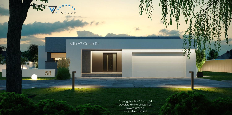 Immagine Villa V58 (progetto originale) - l'entrata e il garage di sera