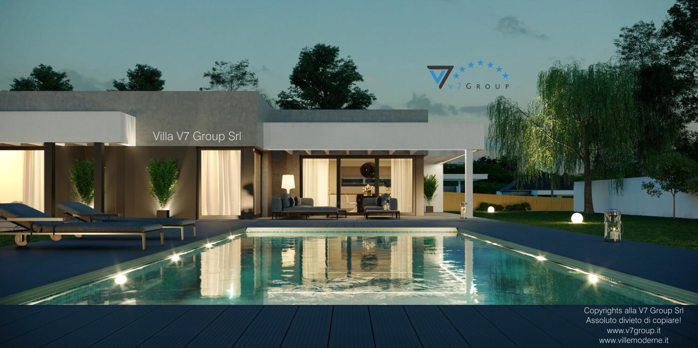 Immagine Villa V58 (progetto originale) - la piscina di sera
