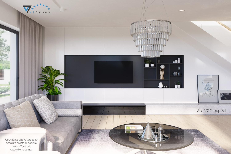 Immagine Villa V59 (progetto originale) - il tavolo in vetro e la tv
