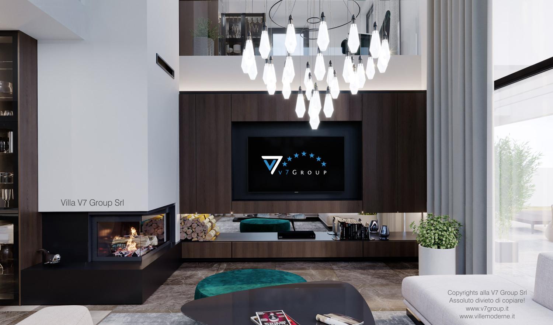 Immagine Villa V60 - la tv e il camino al centro del soggiorno