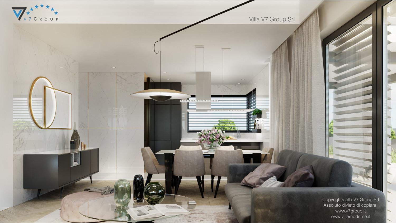 Immagine Villa V64 (progetto originale) - interno 6 - soggiorno e sala da pranzo