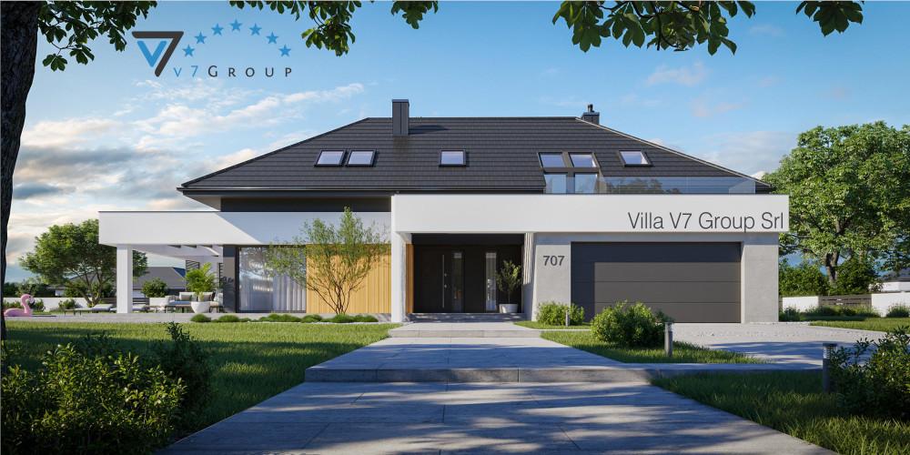 Immagine link Villa V717 (progetto originale) - vista frontale di Villa V707