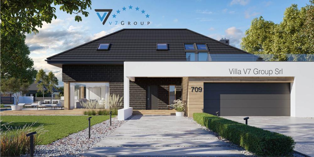 Immagine Villa V708 (progetto originale) - vista frontale di Villa V709